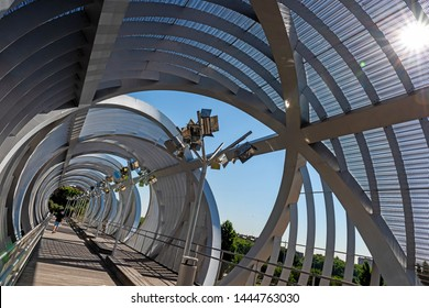 Modern Arganzuela bridge. Madrid, Spain.