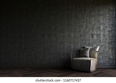 the modern armchair in front of the black wall concrete.