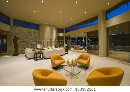 Modern Armchairs Spacious Living Room View Stock Photo (Edit ...