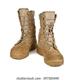 modern army boots isolated on white background stock photo