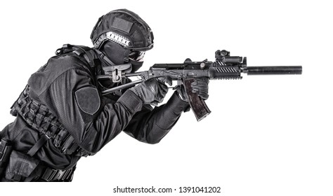 Modern army soldier, police SWAT member on white