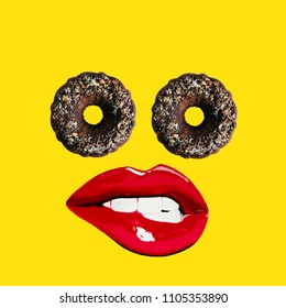 Modern art collage.  Cake eyes and lips on yellow background