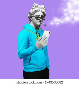 Modern art collage. Concept portrait of a man  holding mobile smartphone using app texting sms message. Gypsum head of of Apollo. Thug life.