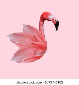 Modern art collage. Flamingo lovers .