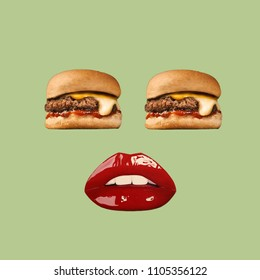 Modern art collage. Hamburger eyes and red lips