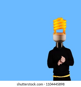 Modern art collage. Man wearing hoodie with lamp head