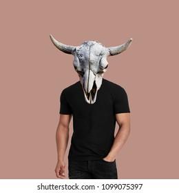 Modern art collage.  Men's body with skull head