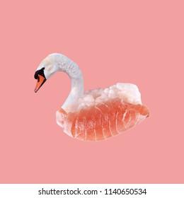 Modern art collage. Sushi Swan on pink background.