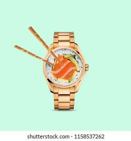 Modern art collage. Sushi Watch.