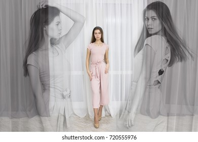 Modern art designed layout with fashion portrait of beautiful young girl posing in modern apartment