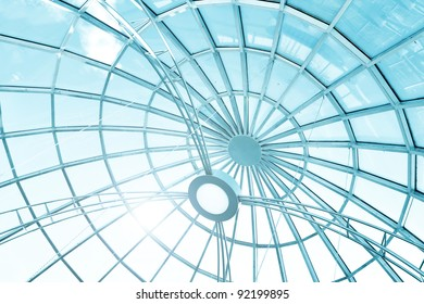 modern art from glass and metal, roof background