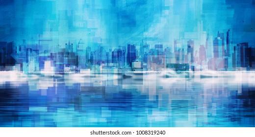 Modern Art. Manhattan, New York panorama in vivid blue colors. 3D rendering