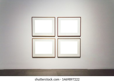 Modern Art Museum Frame Wall Clipping Path Isolated White Empty Design Mock Up Template