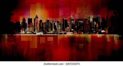 Modern art. New York cityscape. Manhattan. 3D rendering