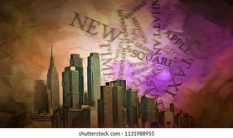 Modern art. New York, Manhattan. 3D rendering