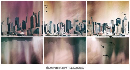 Modern art. NYC Landscape. Manhattan harbor. 3D rendering