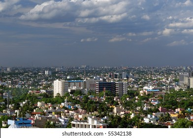 A modern Asian city very densely populated