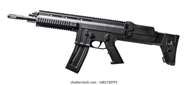 Modern assault sporting rifle with 22mm caliber rimfire ammunition isolated on white background. Sharpen gun top view.