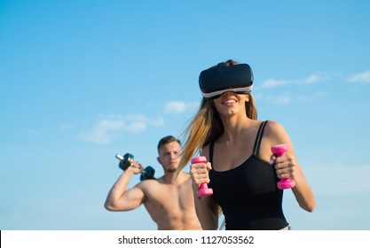Modern athlete wear vr headset training on blue sky. Modern science for healthy life. Modern approach in sport. Modern technologies. Get stronger and smarter.