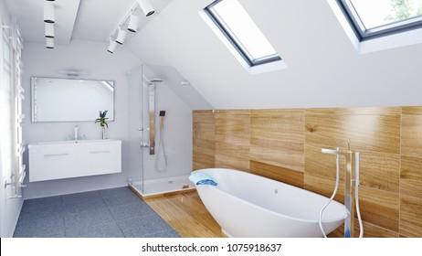 Modern attic Bathroom interior. 3d illustration concept