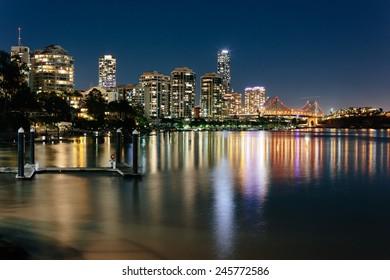Modern Australian city at night (Brisbane, CBD, QLD, Australia)