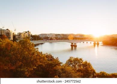 Modern Australian city at sunset (Brisbane, QLD, Australia)