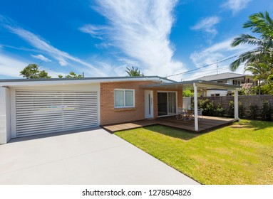 Modern australian home front on a sunny day