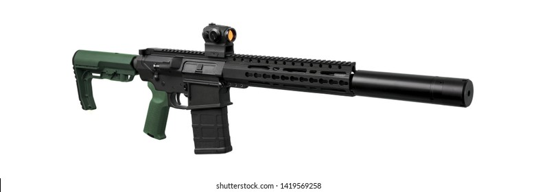 Modern automatic carbine with collimator sight and silencer isolate on white background
