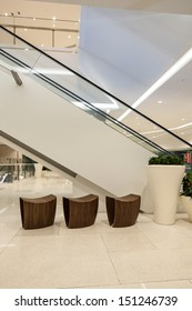 modern automatic escalators in the mall lobby