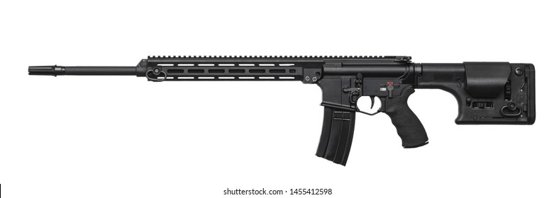Modern automatic rifle isolated on white background