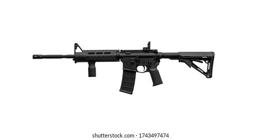 Modern automatic rifle isolated on white background. Weapons for police, special forces and the army. Automatic carbine with mechanical sights. Assault rifle on white back.