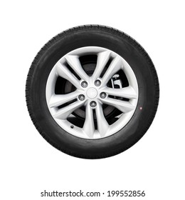 Modern automotive wheel isolated on white