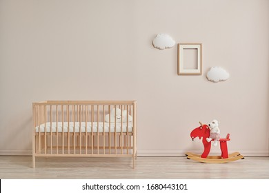 Modern baby room interior style with red horse toy style.