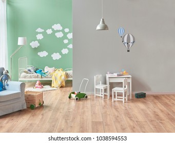 Modern baby room white bed and toy. White small table and chair to play. Grey and Green wall concept.
