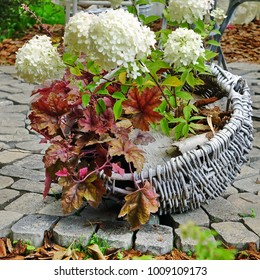 Modern Backyard Garden Patio Decorated With Floral Arrangement. Hydrangea Flowers And Red Maple Leafs In The Design Wicker Basket On Brick Floor