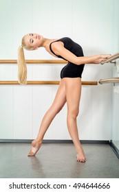 Modern ballet dancer in a ballet class.