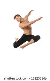modern ballet dancer posing isolated over white background