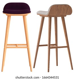 Modern bar stool for kitchen or restaurant on white background