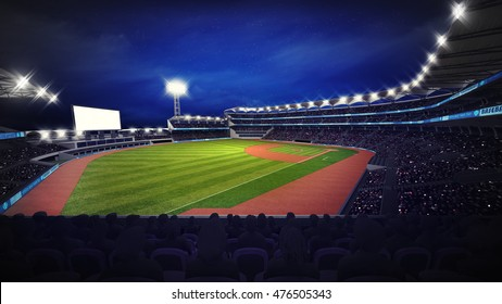 modern baseball stadium with fans at corner view, sport theme 3D illustration