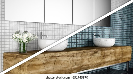 Modern bathroom after and before reconstruction and renovation 3d illustration