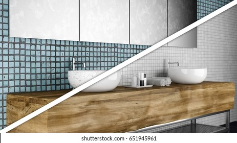 Modern bathroom before and after reconstruction and renovation 3d illustration
