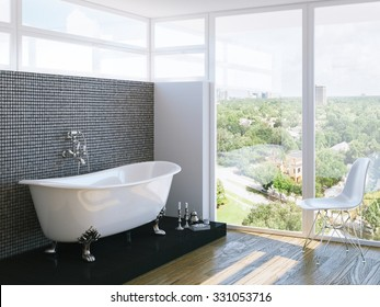 modern bathroom in bright interior with big window