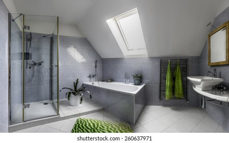 Modern bathroom in cool style with glass shower and bathtub in the attic of a house