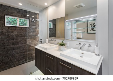 Modern bathroom with custom mirror