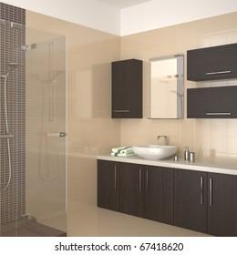 modern bathroom with dark wood equipment