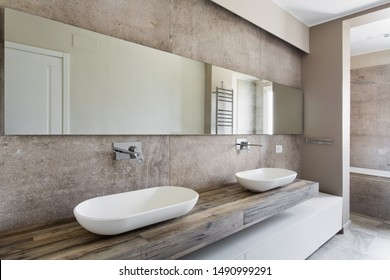 Modern bathroom with double sink. Bathroom sanitary ware suspended