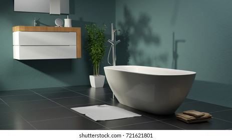 Modern bathroom with green walls and slate floor as 3d rendering