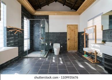 modern bathroom in a hotel guest room