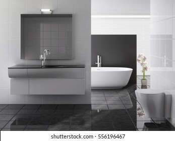 modern bathroom including bath and sink, 3d render