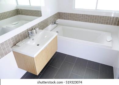 Modern Bathroom interior with bath tub and sink
